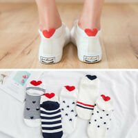 5 pairs Kawaii Cute Women Heart Soft Breathable Ankle High Casual Cotton Socks I
