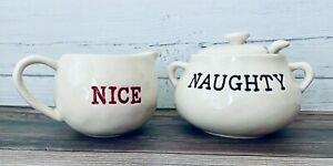 Pottery Barn Cream & Sugar Set Naughty Or Nice Holiday Red Black Printing ~ EUC
