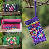 Women Ethnic Handmade Embroidered Wristlet Clutch Bag Vintage Purse Wallet