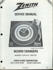 Original Factory Zenith 169-515/516 Record Player Phono Turntable Service Manual
