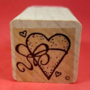 """Small Wood Mounted 1"""" x 1""""  Mini Rubber Stamp  Heart With Ribbon String Tied Bow"""