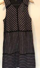 BCBGmaxazria Women Sleeveless Navy Mix Unlined Black Lace Trim Dress Size L