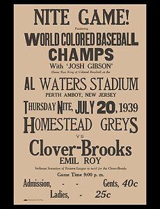 Negro League Poster Homestead Greys Josh Gibson - 8x10 Photo