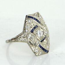 Antique Deco Diamond Sapphire Sheild Cocktail Ring Vintage 18k Gold Heirloom