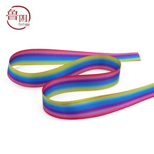 """Satin Double-sided Rainbow gradient Grosgrain Ribbons lots Bows 7/8"""" 22mm Crafts"""
