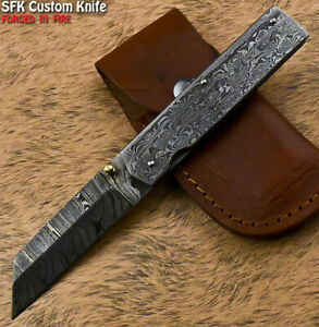 SFK Hand Forged Damascus Steel Wootz Hunting Folding Knife Liner Lock