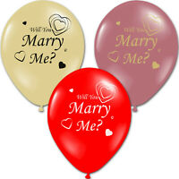 Marry Me Proposal Valentine's Day Hearts Ivory Rose Gold Printed Latex Balloons