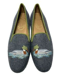NEW, STUBBS & WOOTTON GRAY WOOL DUCK LOAFERS, 9.5, $710