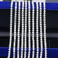 Silver Rhinestone Claw Chain 2mm Bulk Wholesale Clear 11 Yards Jewelry Making