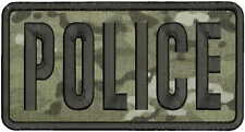 POLICE embroidery patch  4x8 hook MULTICAM
