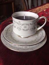 Teacup candle trio, Royal Standard grey swirl design, pink rose, grey wax