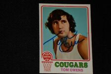 TOM OWENS 1973-74 TOPPS SIGNED AUTOGRAPHED CARD #189 CAROLINA COUGARS