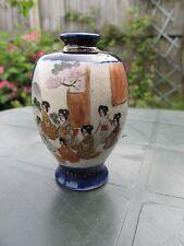 Antique Japanese Satsuma Koshida Miniature Vase with Cobalt Blue&Gold 1000 Faces