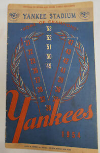 1954 YANKEES VS. INDIANS SCORECARD/PROGRAM - YANKEE STADIUM - MANTLE