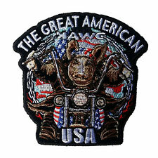 """The Great American Hawg Patch 5"""" Motorcycle Motorbike Colourfast Embroidered"""