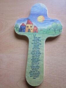 Kinderkreuz zur Geburt und Taufe, Kinderkommunion Geschenkidee mit Gebet
