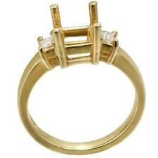 14K Yellow Gold Semi Mount Three-Stone Engagement Ring, Dia 0.25 CT