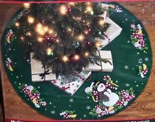 Bucilla CANDY CANE SNOWMAN Felt Christmas Tree Skirt~Table Cover Kit  OOP 86307