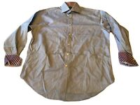 THOMAS DEAN Mens Large Button Front Flip Contrast Cuff Dress Shirt