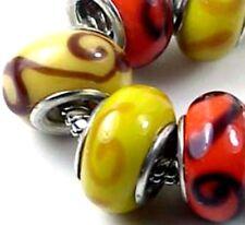 Lampwork Handmade Glass Fit Charm Bracelet Spiral Beads (6)
