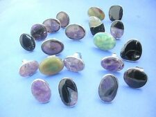 lot of 10 rings genuine gemstone wholesale rings *Ship From US/Canada*