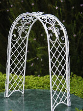 Miniature Dollhouse FAIRY GARDEN Furniture ~ White Wire Trellis Arch ~ NEW