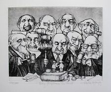 "CHARLES BRAGG ""MAY IT PLEASE THE COURT"" Hand Signed Limited Edition Etching RARE"