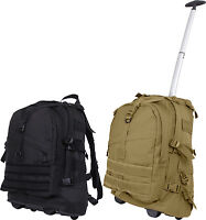 Large Wheeled Rolling Canvas MOLLE Transport Backpack