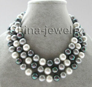 """J5031 - 50"""" 12mm natural white black gray perfect round sea shell pearl necklace"""