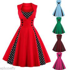 Women Polka Dot 50's Dress Red Rockabilly Pin Up Retro Vintage Christmas