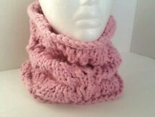 Handmade Womens Pink Chunky Infinity Scarf Cowl Neck Warmer Wool Blend One Size