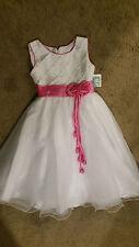 White with pink trim wedding girls full skirt dress sz6-12 BNWT free post D83