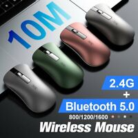Wireless Mouse Bluetooth/2.4GHz Mice Optical Scroll For PC Laptop Computer + USB