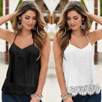 Women Summer V-neck Camisole Lace Vest Cami Tank Top Sleeveless Bottom Tee Shirt