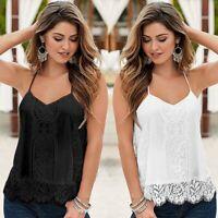 Women Summer V-neck Camisole Lace Vest Cami Tank Top Sleeveless Bottom Tee Shirt