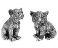 Felino Gatos-Bebé Tiger-Kind Figura Escultura Plata de Poliresina Estatua