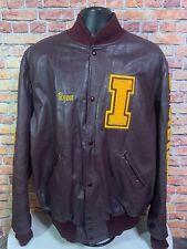 Vintage Ryan Letterman Leather Bomber Varstiy Jacket Mens Size XL Burgundy 2004