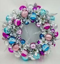 Retro Blue & Magenta Sparkle Christmas Ornament Wreath