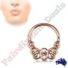 CZ Centered Rose Gold Ion Plated Butterfly Filigree Brass Bendable Septum Ring