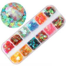 12Gitters/Box Nagel Pailletten Herbst Ahornblatt Bunte Nail Art Glitter Decor yu