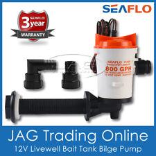 12V SEAFLO LIVEWELL LIVE BAIT TANK AERATOR WATER BILGE PUMP - BOAT FISH BOX 800