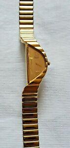 Seiko 1F20 5D59 Ladies Vintage Half Moon Gold Plated Wrist Watch Fresh Battery