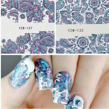 2pcs 3D NAIL ART WATER TRANSFER STICKERS Pink Blue FLOWER DECALS TIPS DECORATION
