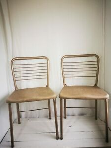 Costco 1960s Gatefold Vintage Dining Chairs Rose Gold PAIR Americana Kitchenalia