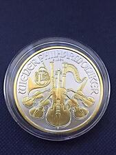 2016 Austria 1 Oz Silver Vienna Philharmonic 1.5 Euro 24K Gold Gilded BU Coin !