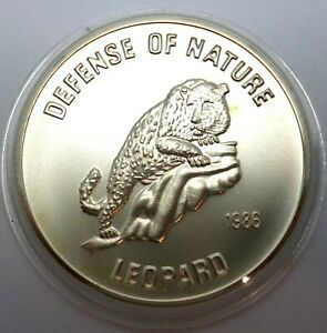 Afghanistan 500 Afghanis 1986 Silver coin UNC Leopard - Wildlife Rare (T88,1)