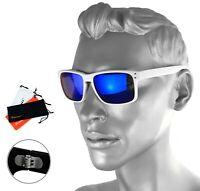 Rennec Herren Sonnenbrille Blau Verspiegelt Weiß Doppelgelenke Nerd R14W Etui