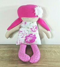 Handmade Rag Cloth Doll Floral Dress Flower Felt Pink Hair Plush Soft Toy 40CM