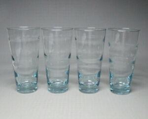 Libbey ripple 4 glasses , blue , tall , mid century modern , Freda Diamond (0360