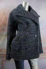 $3145 New with tags JIL SANDER Purple Green Mohair Wool Jacket Pea Coat 38 8